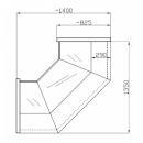 NCHW 1,3/0,8 - Egyenes üvegű belső sarokpult (90°)