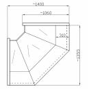 NCHW 1,3/1,1 Straight glass internal corner counter (90°)
