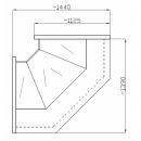 NCHIW 1,3/1,1 - Hajlított üvegű belső sarokpult (90°)
