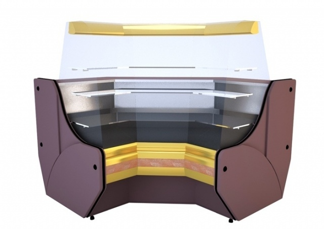 Vitrină de colţ interior cu geam curbat NCHCGW 1,3/0,9