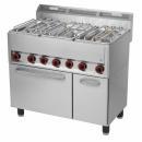 SPT-90/5 GLS Maşină de gătit cu 5 arzătoare şi cuptor electric
