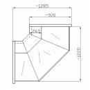 NCH NN-Z 1,2/0,9 - Egyenes üvegű külső sarokpult