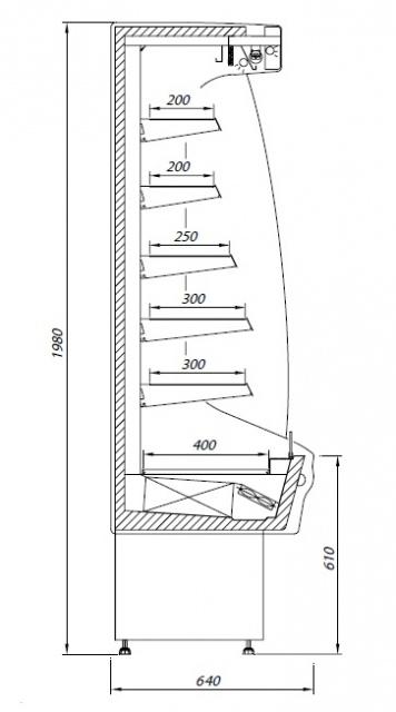 R-1 110/65 MINI MARTINI Refrigerated wall counter