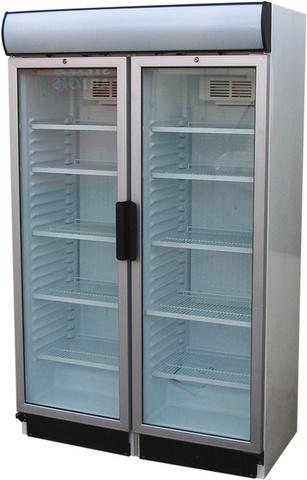 USS 748 D2KL Glass door cooler with double doors and display