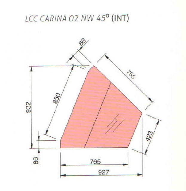LCC Carina 02 NW INT 45 - Refrigerated internal corner counter (45°)