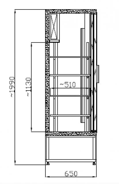 Vitrină frigorifică verticală cu uși glisante SCH 800 R INOX
