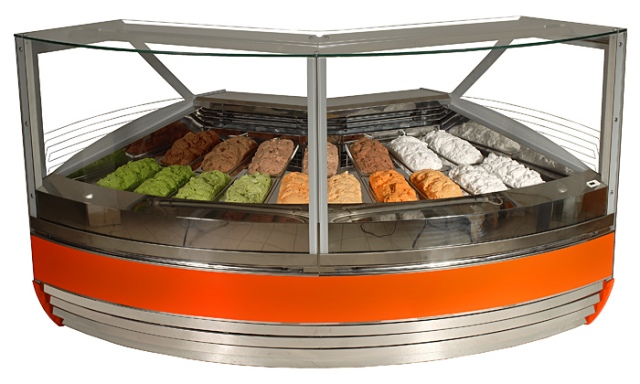 K-1 MGI 17/NZ 90° MAGNUM ICE - Ice cream corner counter for 17 flavours