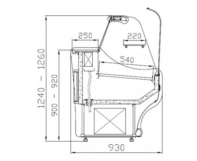 Vitrină frigorifică orizontală cu geam curbat WCh-1/B-1,2/0.9 SANTANA