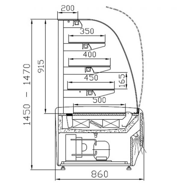 Vitrină de patiserie neutră W-1/C 095 AMATEA