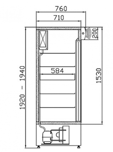 SCh-1-2/1400 - Sliding glass door cooler