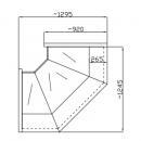 NCH GNN-W 1.2/0.9 - Hajlított üvegű belső sarokpult