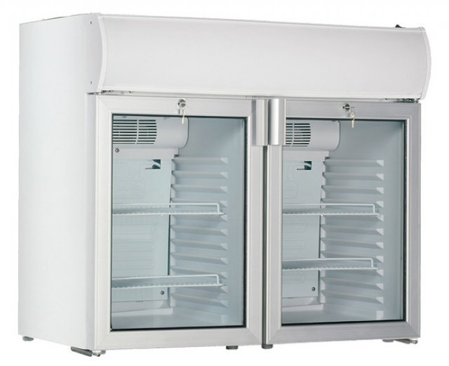 USS 190 D2KL Glass door cooler with double doors and display